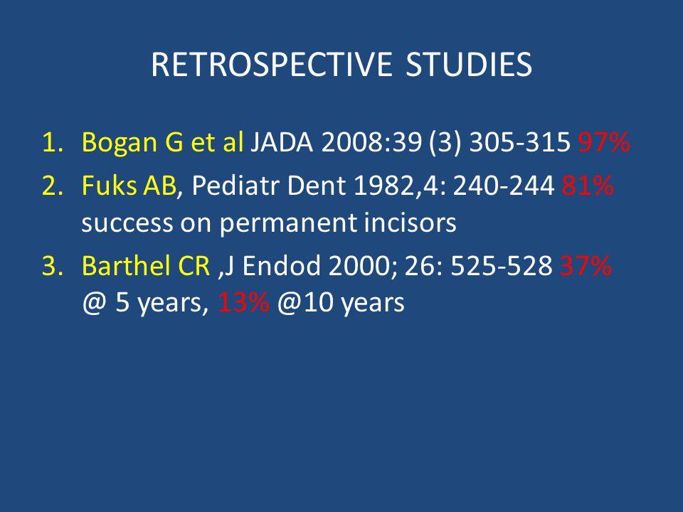 RETROSPECTIVE STUDIES 1.Bogan G et al JADA 2008:39 (3) 305-315 97% 2.Fuks AB, Pediatr Dent 1982,4: 240-244 81% success on permanent incisors 3.Barthel