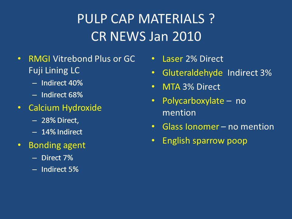 PULP CAP MATERIALS ? CR NEWS Jan 2010 RMGI Vitrebond Plus or GC Fuji Lining LC – Indirect 40% – Indirect 68% Calcium Hydroxide – 28% Direct, – 14% Ind