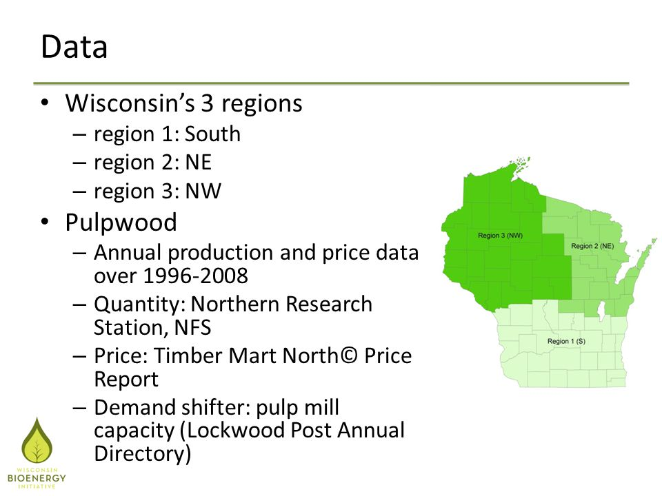 Data Wisconsin's 3 regions – region 1: South – region 2: NE – region 3: NW Pulpwood – Annual production and price data over 1996-2008 – Quantity: Northern Research Station, NFS – Price: Timber Mart North© Price Report – Demand shifter: pulp mill capacity (Lockwood Post Annual Directory)