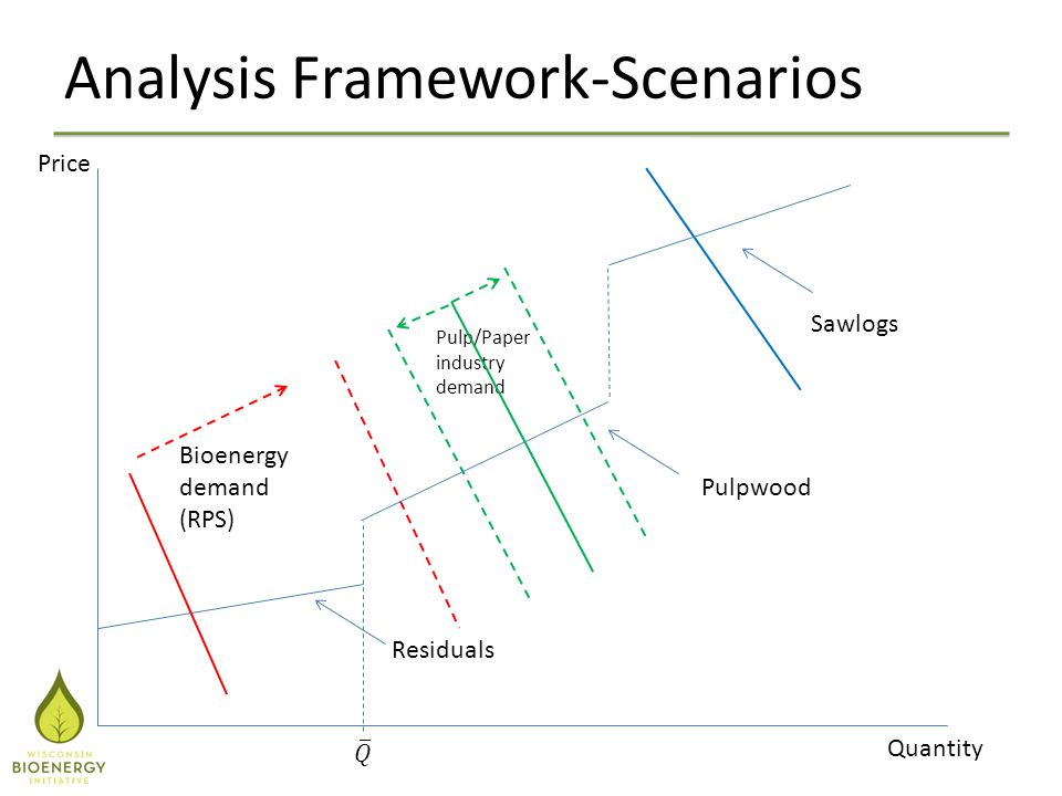 Analysis Framework-Scenarios Price Quantity Residuals Pulpwood Sawlogs Bioenergy demand (RPS) Pulp/Paper industry demand
