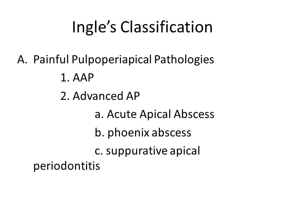 Ingle's Classification A.Painful Pulpoperiapical Pathologies 1. AAP 2. Advanced AP a. Acute Apical Abscess b. phoenix abscess c. suppurative apical pe