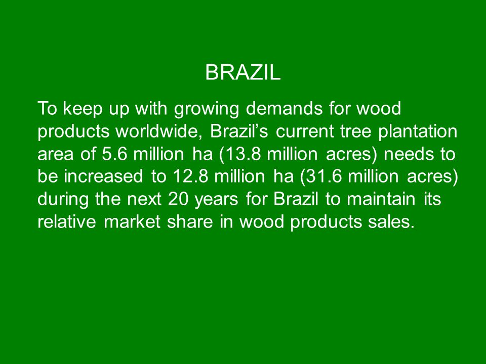 BRAZIL To keep up with growing demands for wood products worldwide, Brazil's current tree plantation area of 5.6 million ha (13.8 million acres) needs