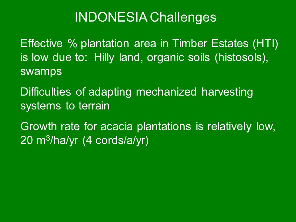 INDONESIA Challenges Effective % plantation area in Timber Estates (HTI) is low due to: Hilly land, organic soils (histosols), swamps Difficulties of