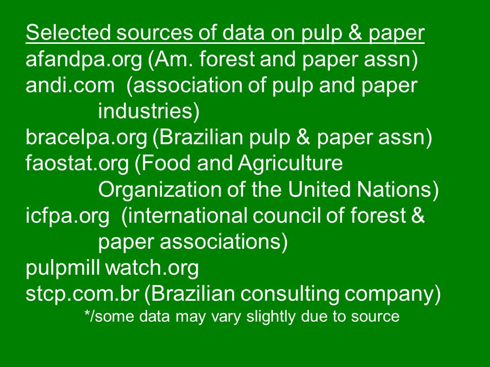 Selected sources of data on pulp & paper afandpa.org (Am. forest and paper assn) andi.com (association of pulp and paper industries) bracelpa.org (Bra