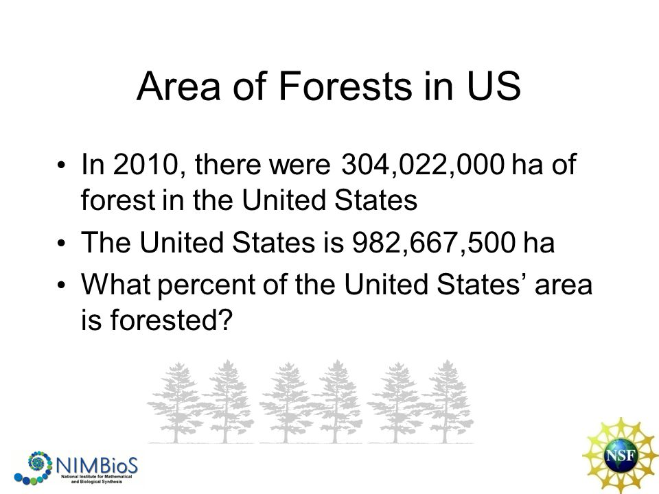 Area of Forests in US In 2010, there were 304,022,000 ha of forest in the United States The United States is 982,667,500 ha What percent of the United States' area is forested