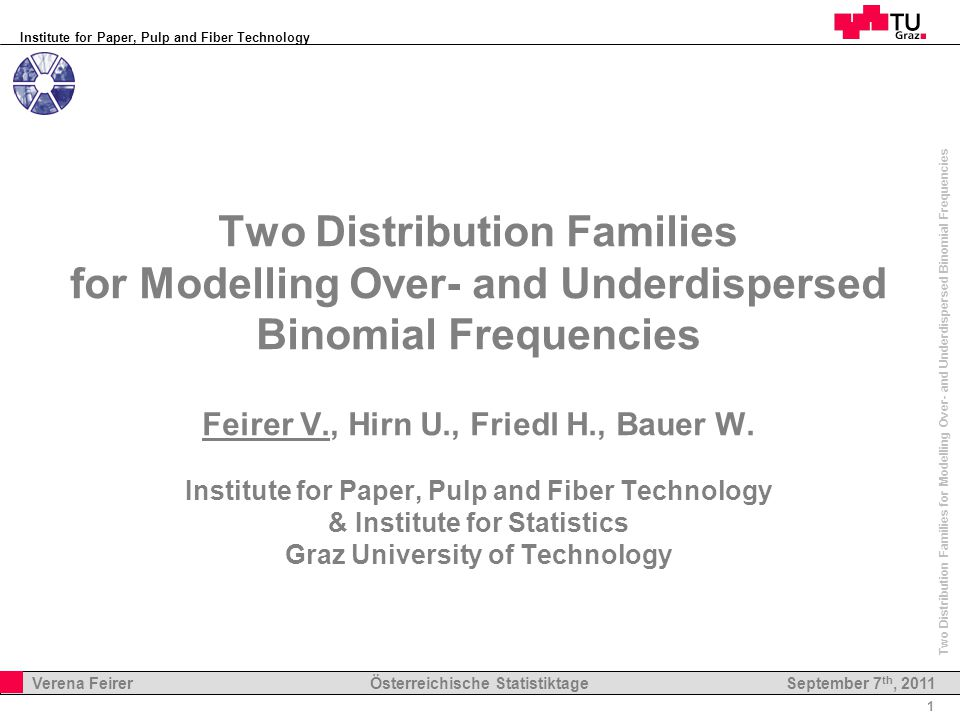 Institute for Paper, Pulp and Fiber Technology 1 Verena Feirer Österreichische Statistiktage Two Distribution Families for Modelling Over- and Underdispersed Binomial Frequencies September 7 th, 2011 Two Distribution Families for Modelling Over- and Underdispersed Binomial Frequencies Feirer V., Hirn U., Friedl H., Bauer W.