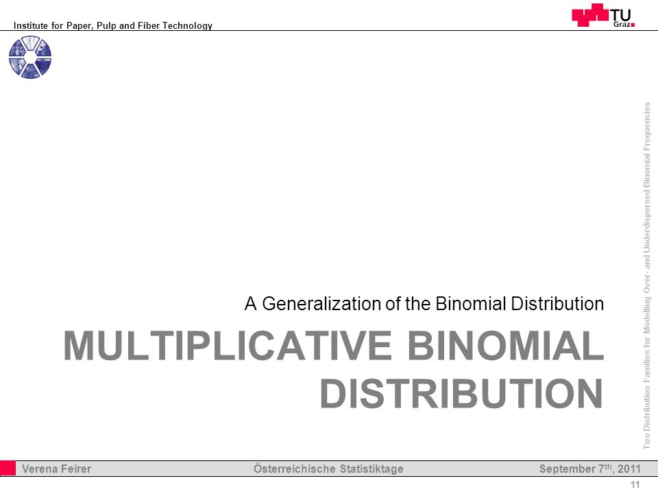 Institute for Paper, Pulp and Fiber Technology 11 Verena Feirer Österreichische Statistiktage Two Distribution Families for Modelling Over- and Underdispersed Binomial Frequencies September 7 th, 2011 MULTIPLICATIVE BINOMIAL DISTRIBUTION A Generalization of the Binomial Distribution