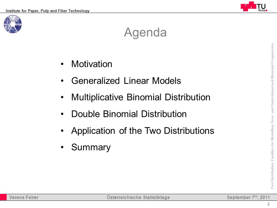 Institute for Paper, Pulp and Fiber Technology 2 Verena Feirer Österreichische Statistiktage Two Distribution Families for Modelling Over- and Underdispersed Binomial Frequencies September 7 th, 2011 Agenda Motivation Generalized Linear Models Multiplicative Binomial Distribution Double Binomial Distribution Application of the Two Distributions Summary