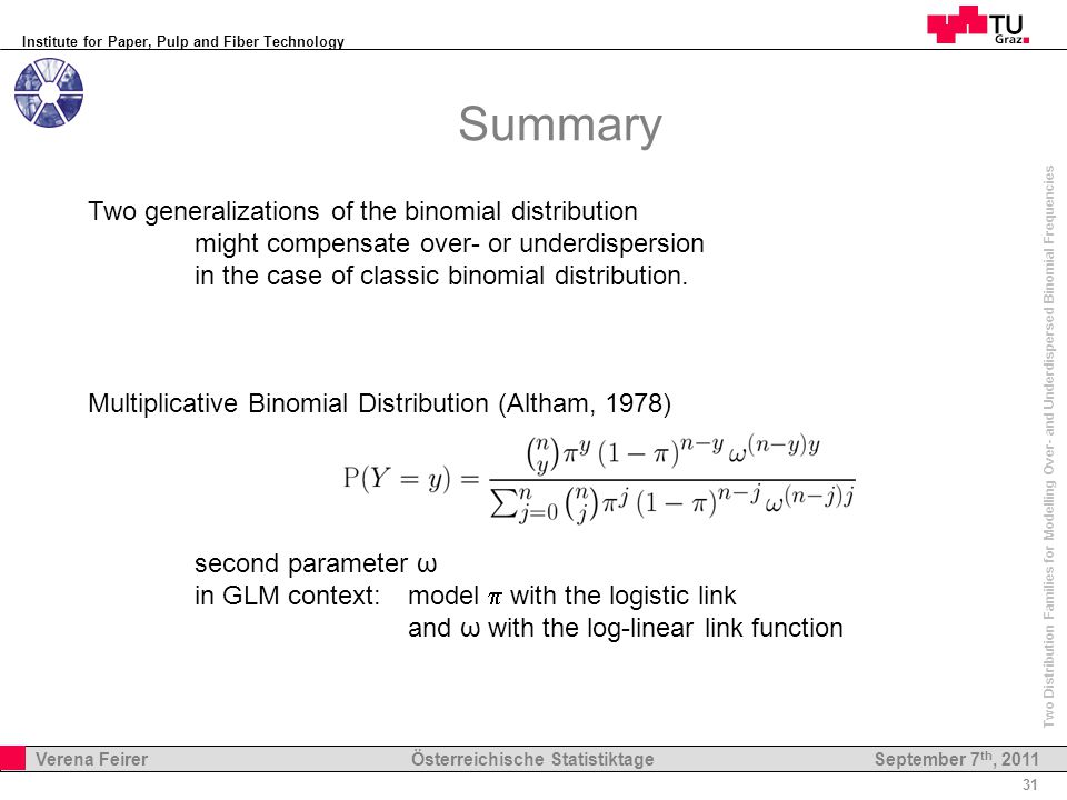 Institute for Paper, Pulp and Fiber Technology 31 Verena Feirer Österreichische Statistiktage Two Distribution Families for Modelling Over- and Underdispersed Binomial Frequencies September 7 th, 2011 Summary Two generalizations of the binomial distribution might compensate over- or underdispersion in the case of classic binomial distribution.