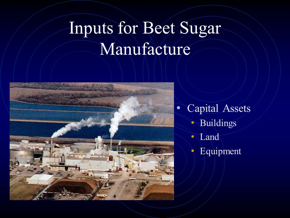 Inputs for Beet Sugar Manufacture Capital Assets Buildings Land Equipment