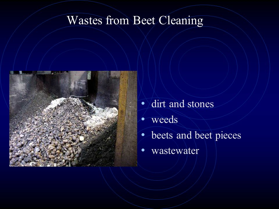 Wastes from Beet Cleaning dirt and stones weeds beets and beet pieces wastewater