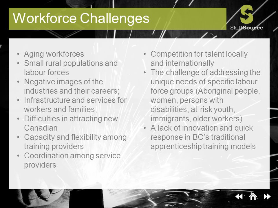 Workforce Challenges Aging workforces Small rural populations and labour forces Negative images of the industries and their careers; Infrastructure an