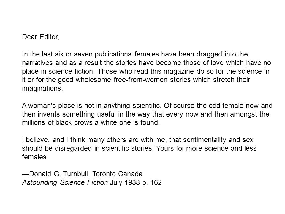 Dear Editor, In the last six or seven publications females have been dragged into the narratives and as a result the stories have become those of love which have no place in science-fiction.