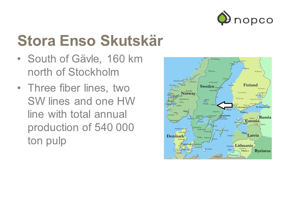 Stora Enso Skutskär South of Gävle, 160 km north of Stockholm Three fiber lines, two SW lines and one HW line with total annual production of 540 000 ton pulp