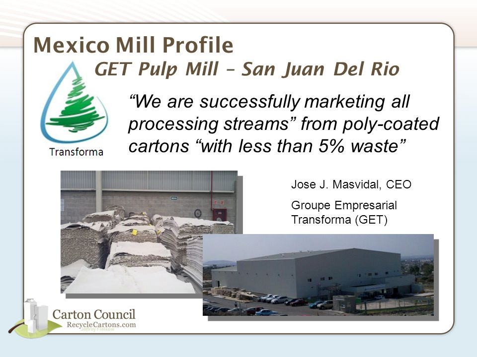 Jeffrey Fielkow US Mill Profile Fibrek Pulp Mill – Fairmont WV Recycled Bleached Kraft pulp Mountain Pulp Brand 215,000 tons per year Chlorine free bleaching process Recycled process