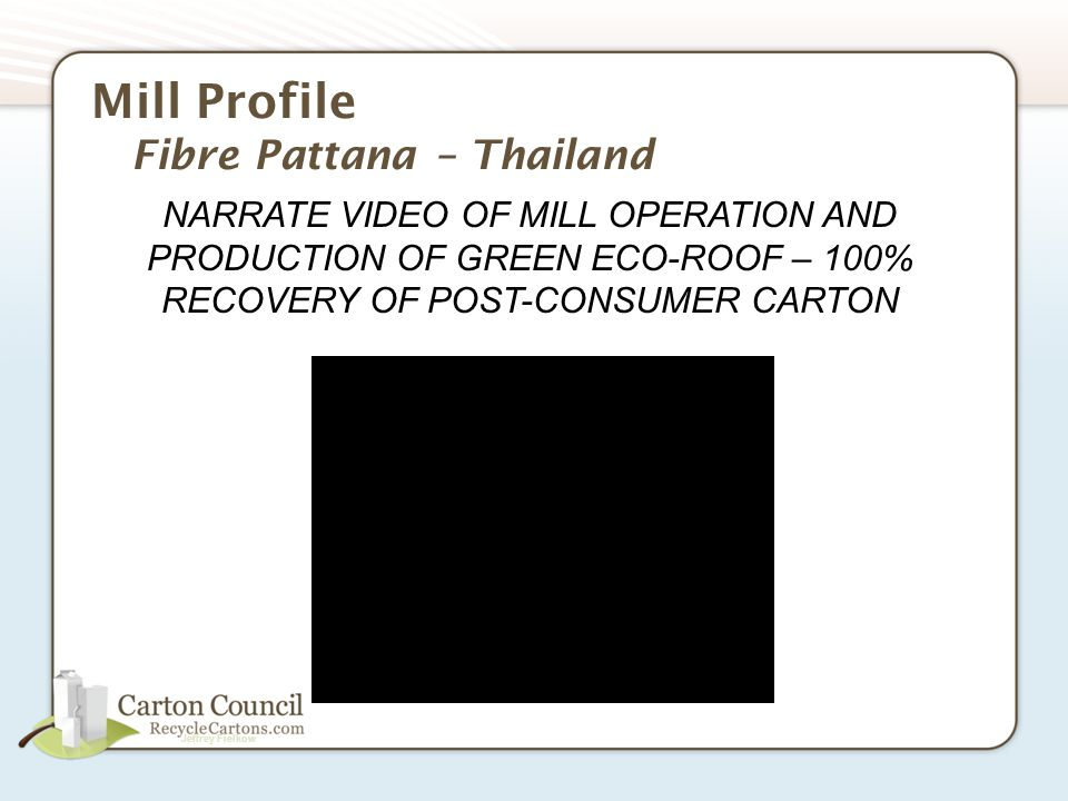 Jeffrey Fielkow Mill Profile Fibre Pattana – Thailand NARRATE VIDEO OF MILL OPERATION AND PRODUCTION OF GREEN ECO-ROOF – 100% RECOVERY OF POST-CONSUMER CARTON