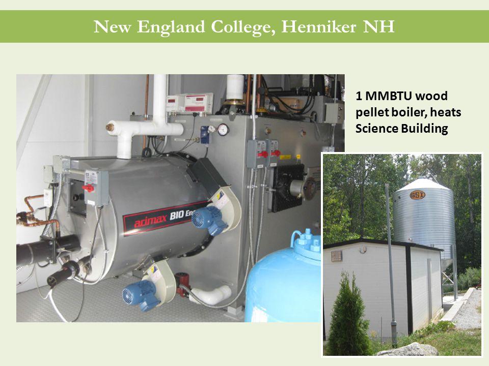 New England College, Henniker NH 1 MMBTU wood pellet boiler, heats Science Building