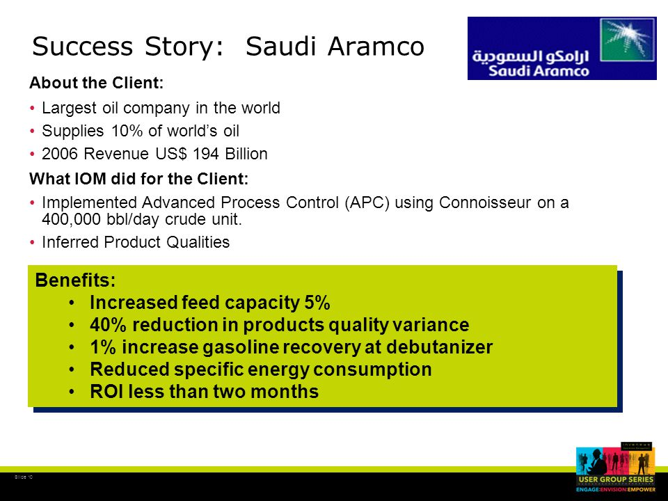 Slide 11 Success Story: Tesoro Golden Eagle FCC Benefits: Increased FCC capacity and conversion Improved main fractionator and gas plant product yields Energy savings $2,950,000 / Year Benefits Benefits: Increased FCC capacity and conversion Improved main fractionator and gas plant product yields Energy savings $2,950,000 / Year Benefits About the Client: Operates 7 U.S.