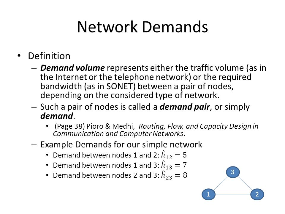 Network Demands 1 3 2
