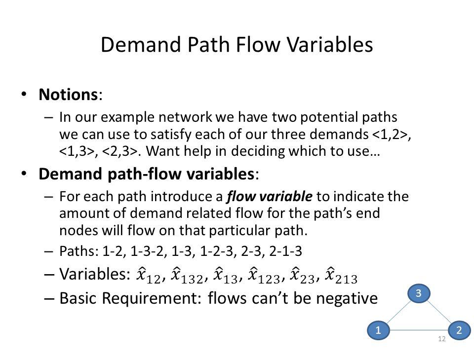 12 Demand Path Flow Variables 1 3 2
