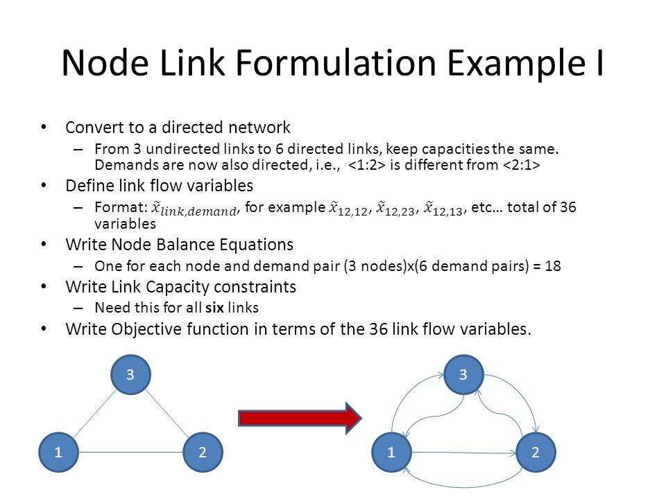 Node Link Formulation Example I 1 3 2 1 3 2