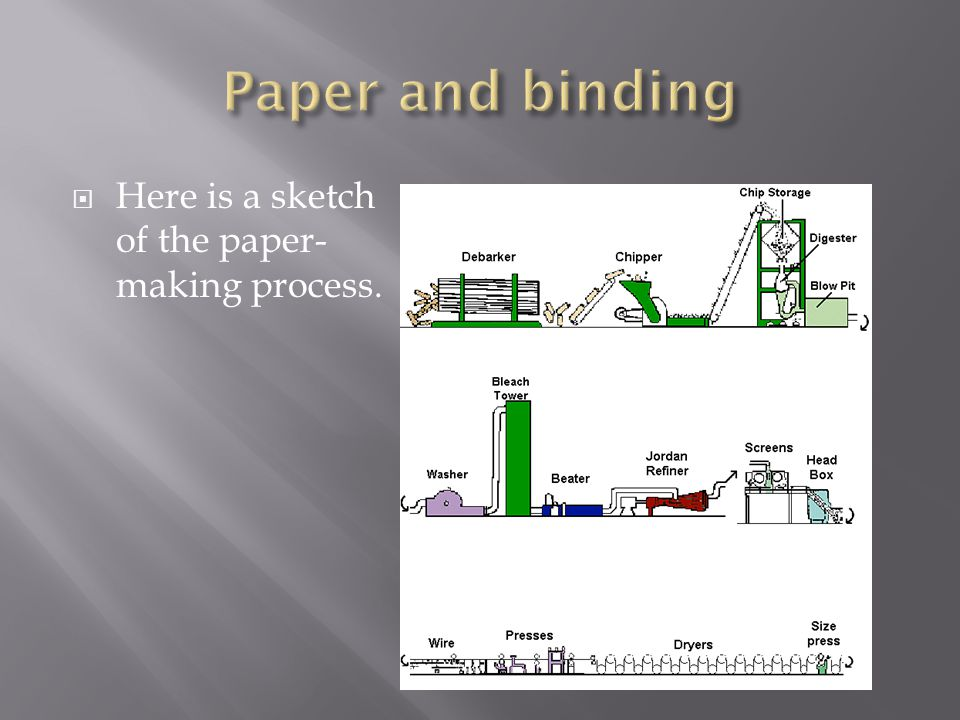  Here is a sketch of the paper- making process.