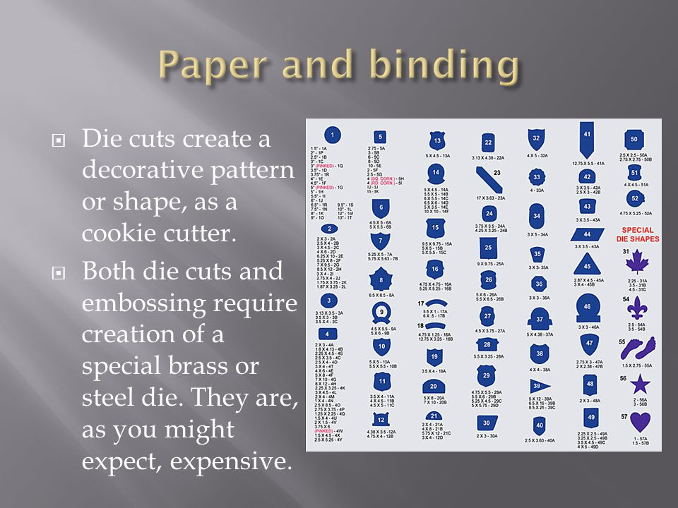  Die cuts create a decorative pattern or shape, as a cookie cutter.  Both die cuts and embossing require creation of a special brass or steel die. T