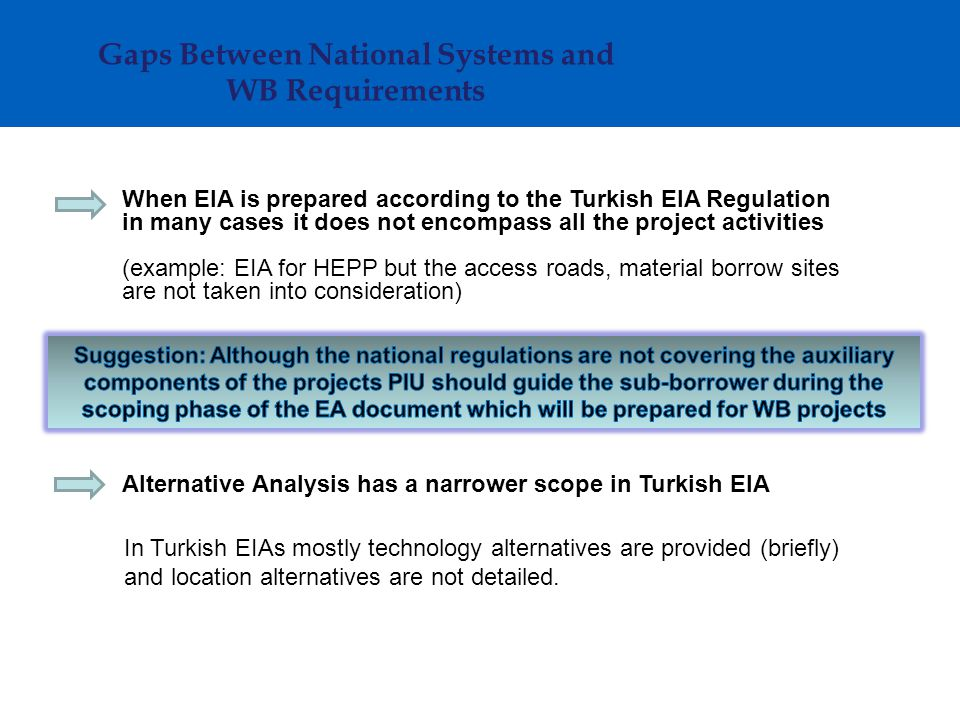 Gaps Between National Systems and WB Requirements When EIA is prepared according to the Turkish EIA Regulation in many cases it does not encompass all