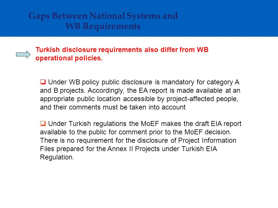 Turkish disclosure requirements also differ from WB operational policies.