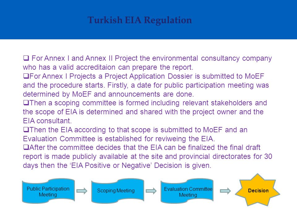 Turkish EIA Regulation  For Annex II Projects a PIF is prepared by the environmental consultant according to the table of contents defined in the EIA Regulation.