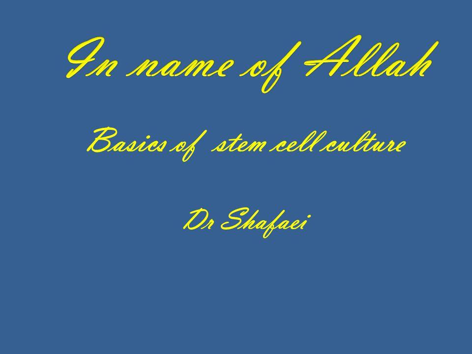 Basics of stem cell culture Dr Shafaei