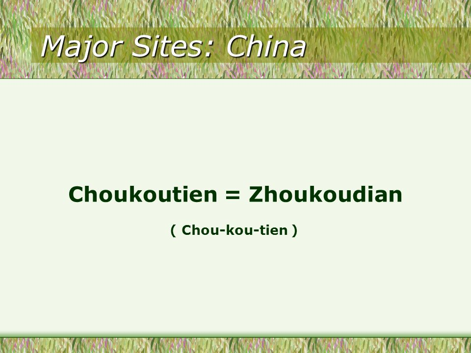 Major Sites: China Choukoutien = Zhoukoudian ( Chou-kou-tien )