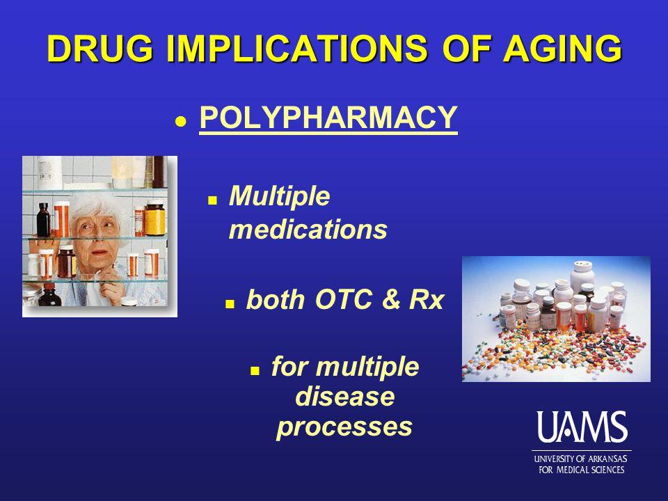 DRUG IMPLICATIONS OF AGING l POLYPHARMACY n Multiple medications n both OTC & Rx n for multiple disease processes