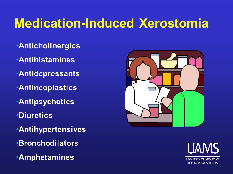 Medication-Induced Xerostomia Anticholinergics Antihistamines Antidepressants Antineoplastics Antipsychotics Diuretics Antihypertensives Bronchodilators Amphetamines