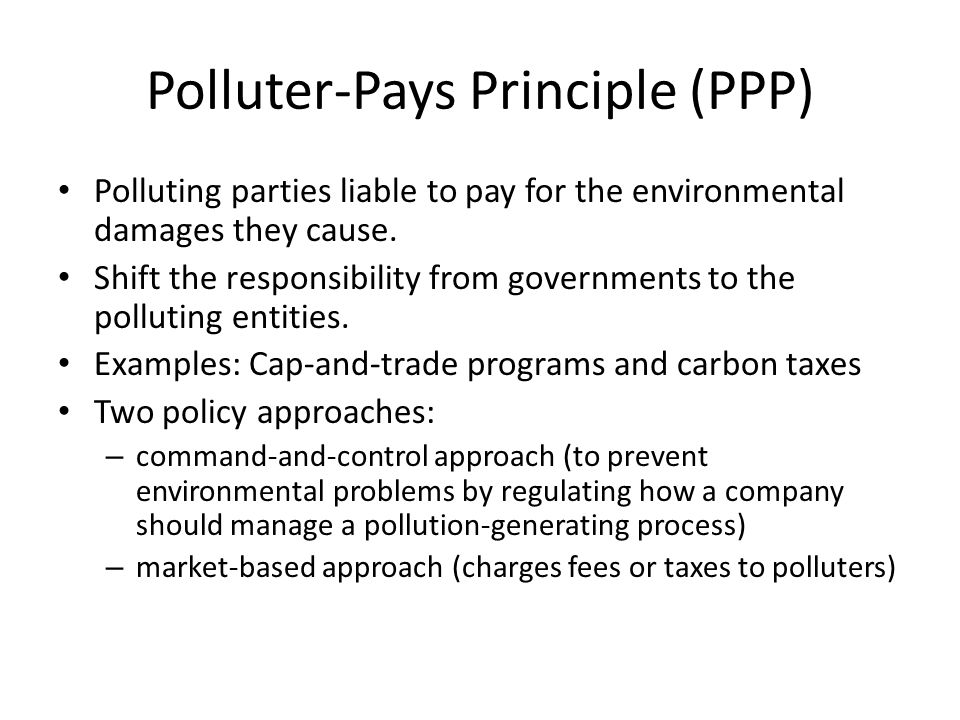 Polluter-Pays Principle (PPP) Polluting parties liable to pay for the environmental damages they cause. Shift the responsibility from governments to t