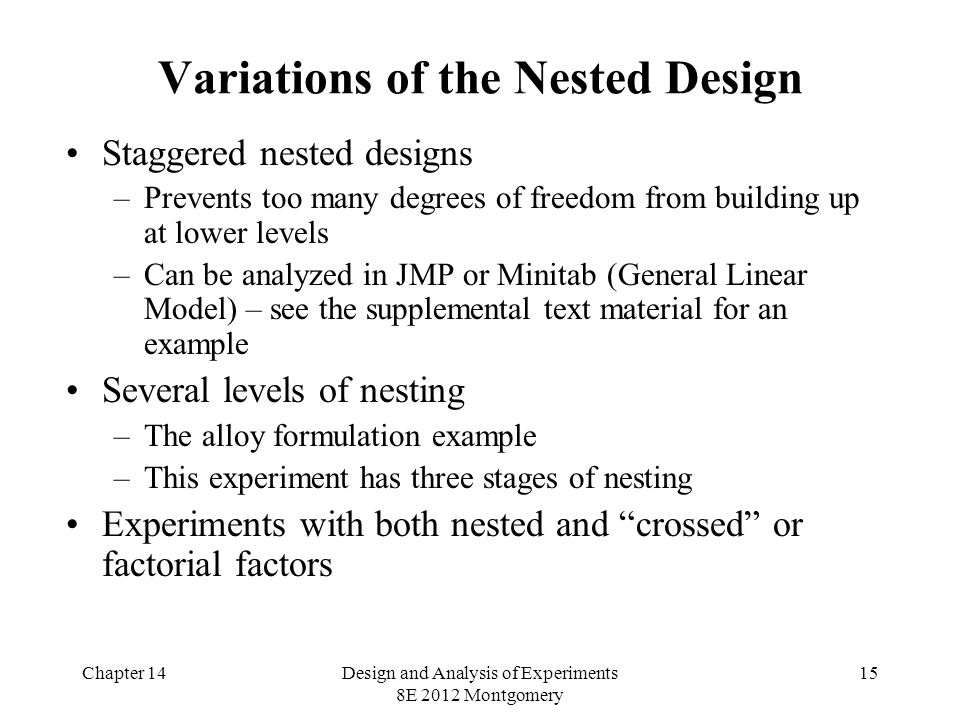 Chapter 14Design and Analysis of Experiments 8E 2012 Montgomery 15 Variations of the Nested Design Staggered nested designs –Prevents too many degrees of freedom from building up at lower levels –Can be analyzed in JMP or Minitab (General Linear Model) – see the supplemental text material for an example Several levels of nesting –The alloy formulation example –This experiment has three stages of nesting Experiments with both nested and crossed or factorial factors