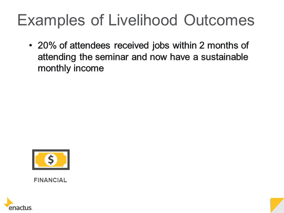 FINANCIAL Examples of Livelihood Outcomes