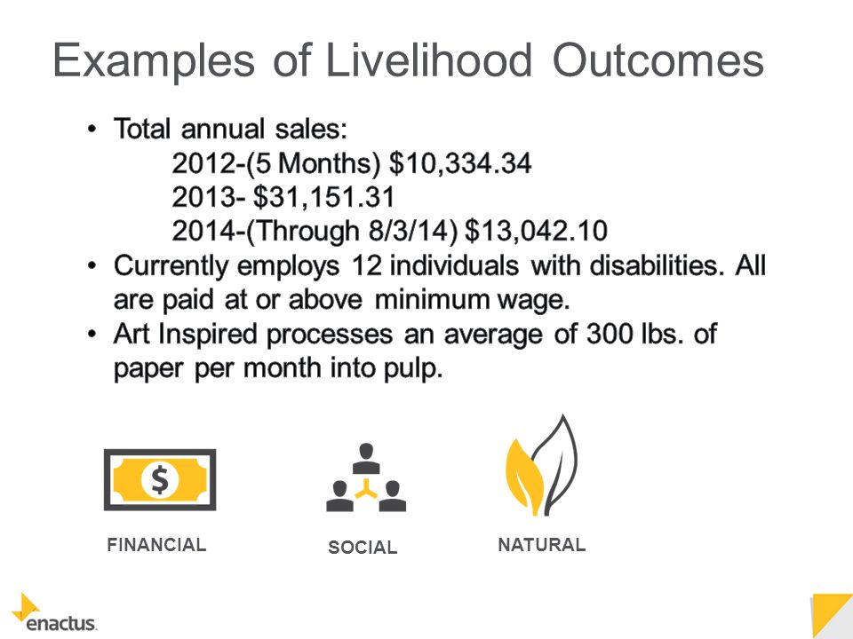 NATURAL FINANCIAL SOCIAL Examples of Livelihood Outcomes