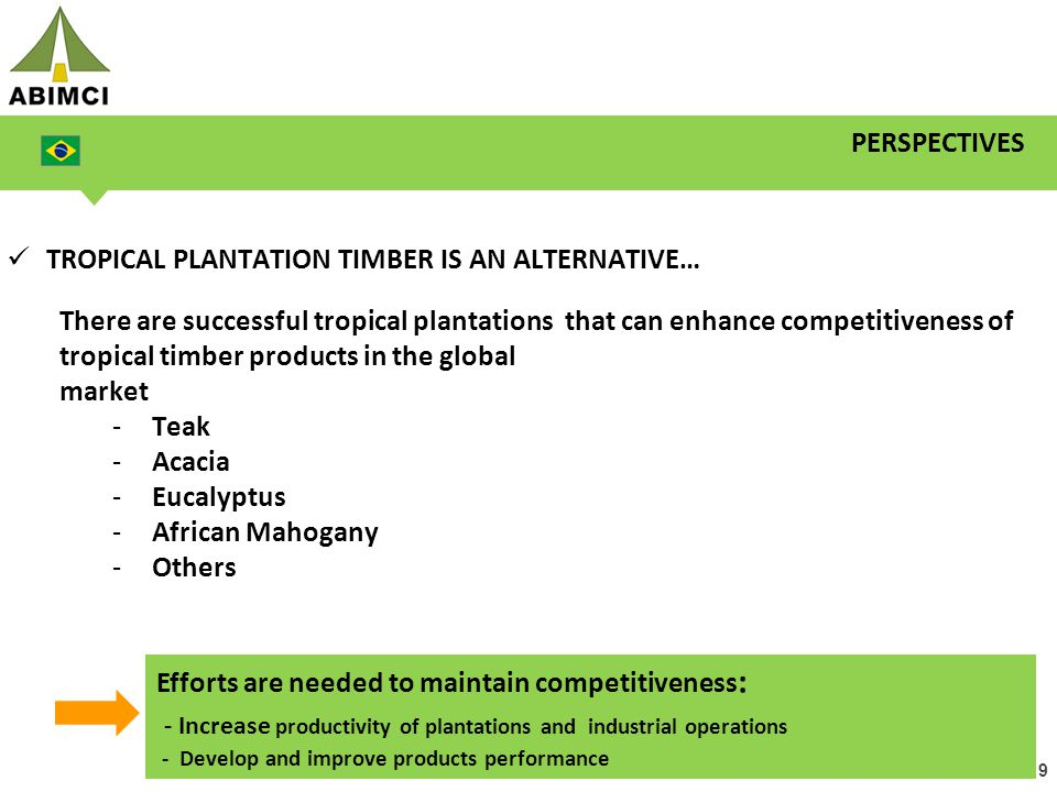 19 PERSPECTIVES TROPICAL PLANTATION TIMBER IS AN ALTERNATIVE… There are successful tropical plantations that can enhance competitiveness of tropical t