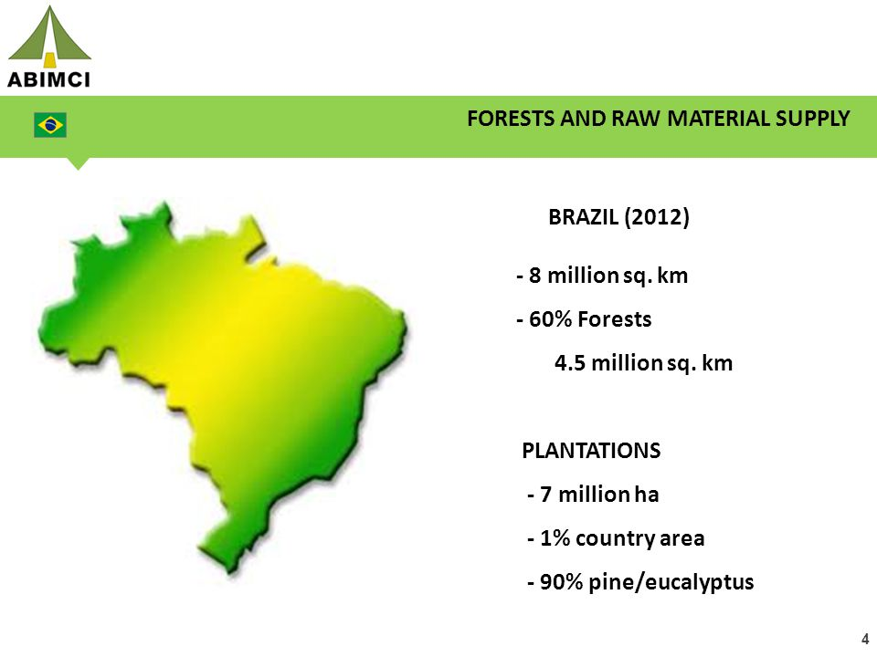 4 BRAZIL (2012) - 8 million sq. km - 60% Forests 4.5 million sq. km PLANTATIONS - 7 million ha - 1% country area - 90% pine/eucalyptus