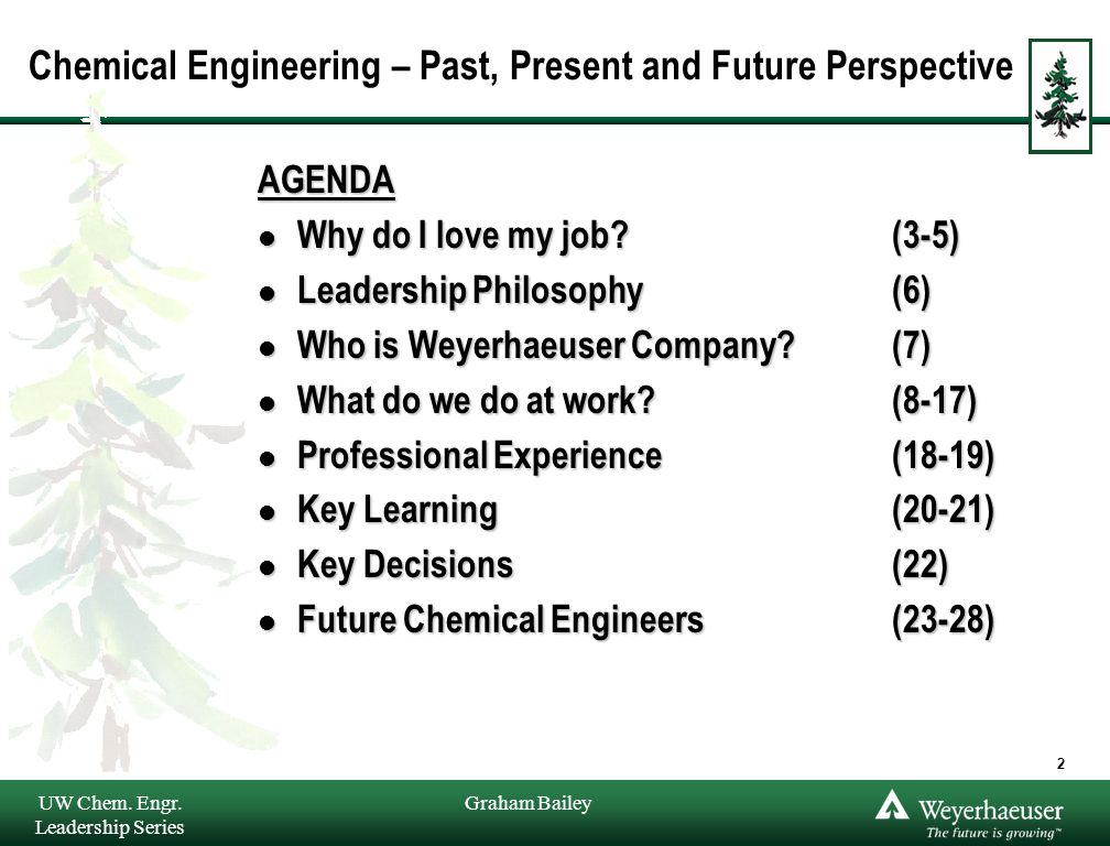 Graham Bailey Chemical Engineering – Past, Present and Future Perspective AGENDA l Why do I love my job? (3-5) l Leadership Philosophy (6) l Who is We