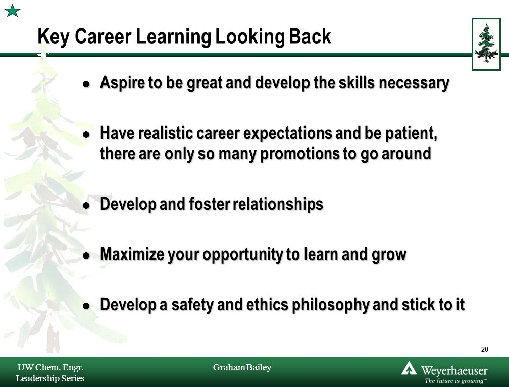 Graham Bailey Key Career Learning Looking Back l Aspire to be great and develop the skills necessary l Have realistic career expectations and be patient, there are only so many promotions to go around l Develop and foster relationships l Maximize your opportunity to learn and grow l Develop a safety and ethics philosophy and stick to it UW Chem.