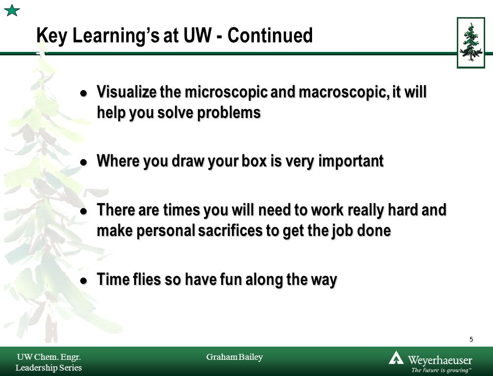 Graham Bailey Key Learning's at UW - Continued l Visualize the microscopic and macroscopic, it will help you solve problems l Where you draw your box