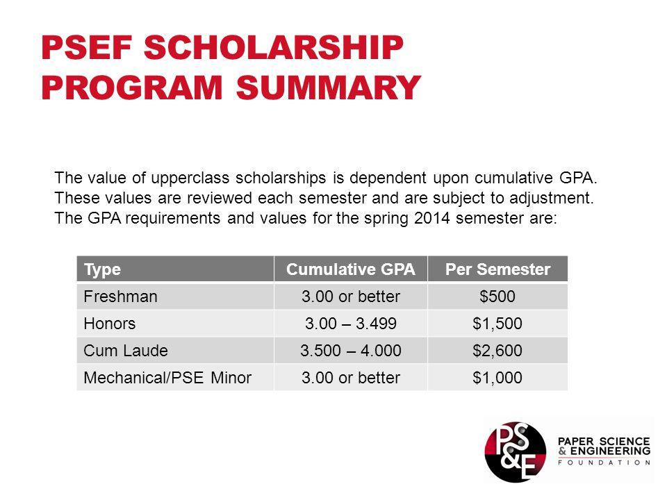 PSEF SCHOLARSHIP PROGRAM SUMMARY TypeCumulative GPAPer Semester Freshman3.00 or better$500 Honors3.00 – 3.499$1,500 Cum Laude3.500 – 4.000$2,600 Mecha