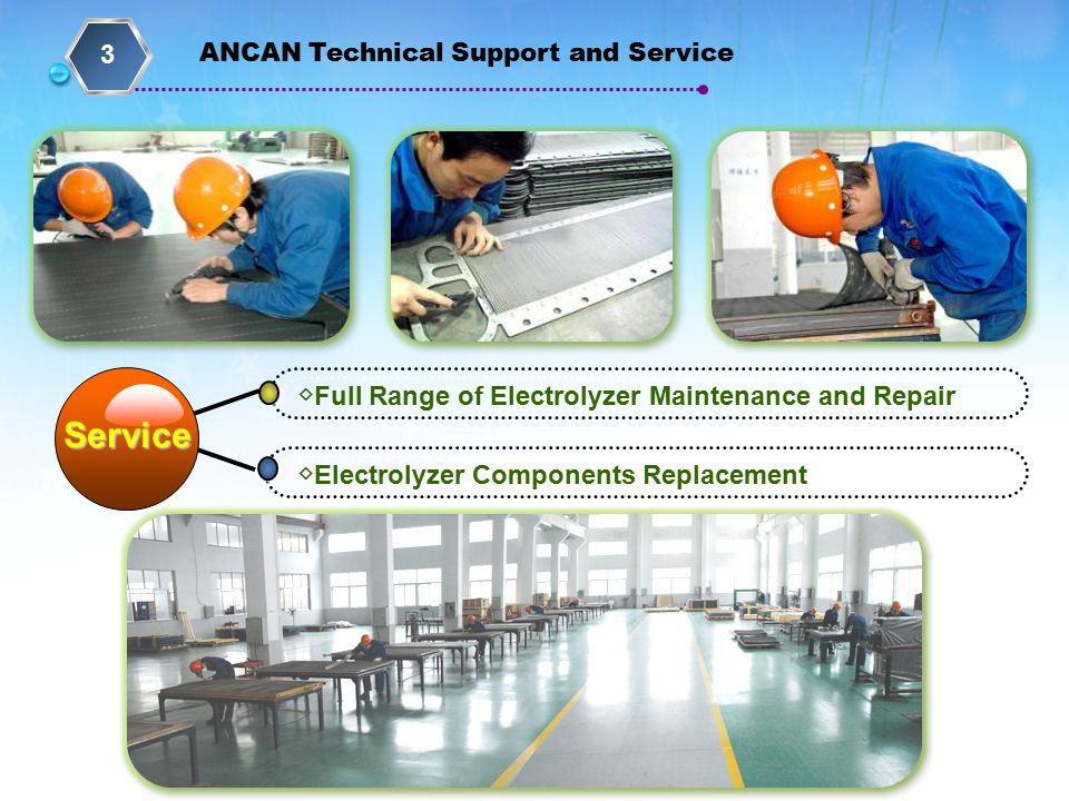 ◇ Full Range of Electrolyzer Maintenance and Repair ◇ Electrolyzer Components Replacement Service ANCAN Technical Support and Service 3