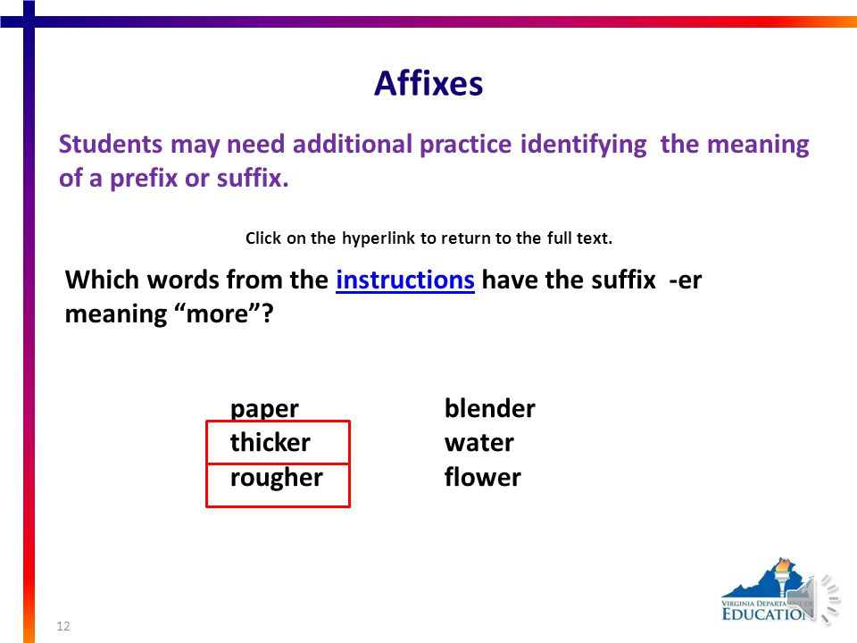 Affixes Students may need additional practice identifying prefixes, root words, and suffixes.