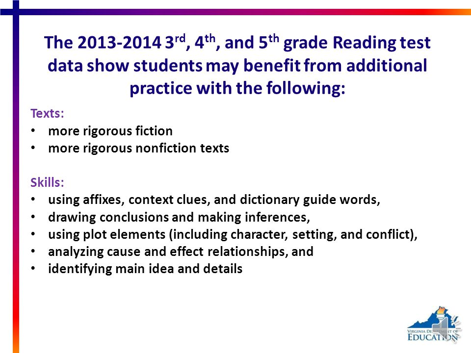 The 2013-2014 3 rd, 4 th, and 5 th grade Reading test data show students may benefit from additional practice with the following: Texts: more rigorous fiction more rigorous nonfiction texts Skills: using affixes, context clues, and dictionary guide words, drawing conclusions and making inferences, using plot elements (including character, setting, and conflict), analyzing cause and effect relationships, and identifying main idea and details