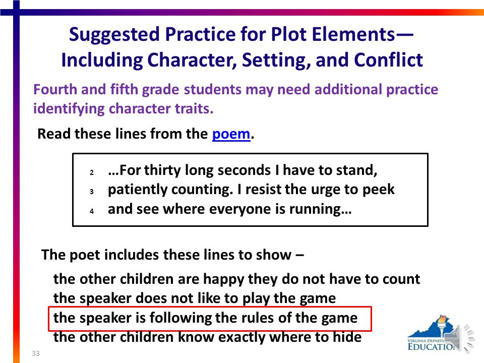 Plot Elements— Including Character, Setting, and Conflict 32 Fourth and fifth grade students may need additional practice: describing why an author includes specific plot details, identifying important plot details, and explaining the relationship between plot details.