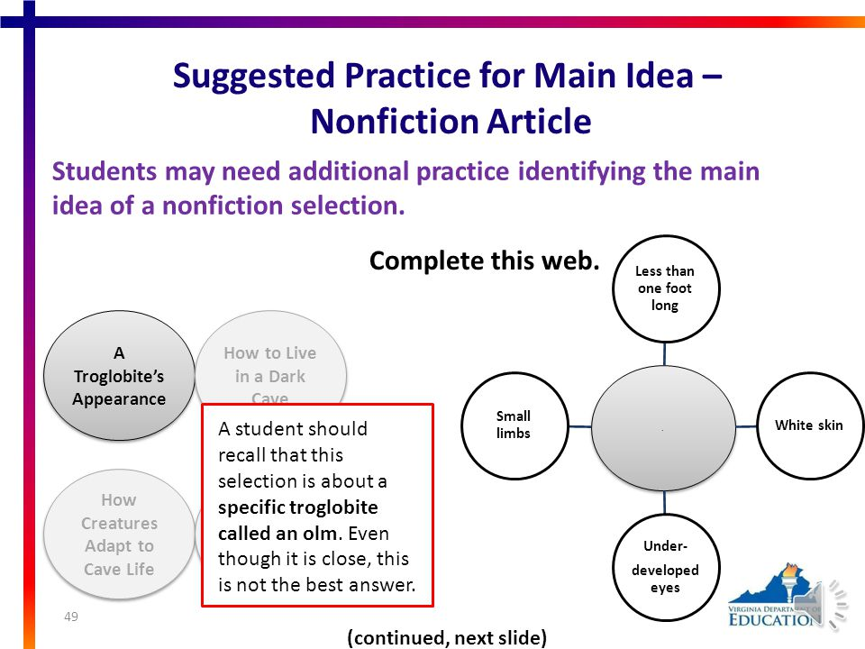 Suggested Practice for Main Idea – Nonfiction Article Students may need additional practice identifying the main idea of a nonfiction selection.nonfiction selection A Troglobite's Appearance How to Live in a Dark Cave How Creatures Adapt to Cave Life The Olm's Features 48 (continued, next slide) Complete this web..