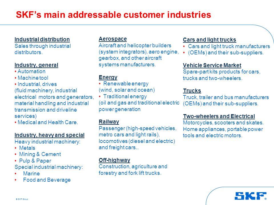 © SKF Group SKF's main addressable customer industries Industrial distribution Sales through industrial distributors. Industry, general Automation Mac